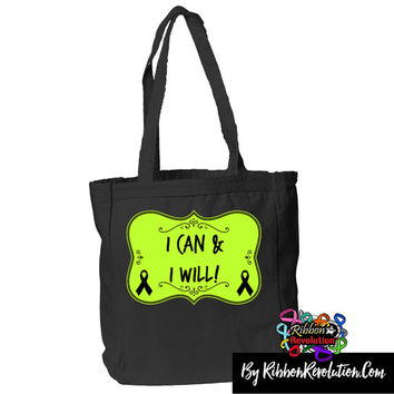 I Can and I Will Tote Bag for Non-Hodgkin's Lymphoma, Lyme Disease, CDLK5, Mental Health and Muscular Dystrophy