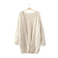 Woman's Braid Knit V Neck Cardigan 080861 Color Beige