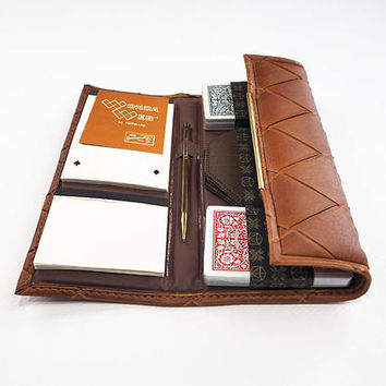 MINT Leatherette Bridge Set Travel Card Game