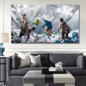 Winter Mountain Extreme Skiing Snowboarding Sports Steep wall art pictures canvas oil paintings printings home decor