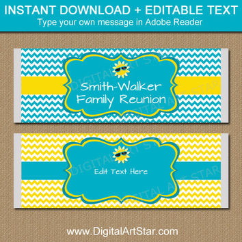 Summer Party Chocolate Bar Wrappers - Printable Family Reunion Candy Bar Wrappers - Yellow Turquoise Chevron Summer Baby Shower Favors