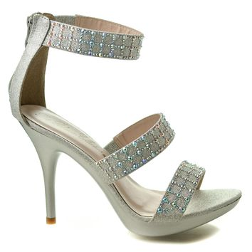 Sanyo140 By Blossom, Rhinestone Studded Strappy Platform Ankle Cuff Stiletto Heel Sandals
