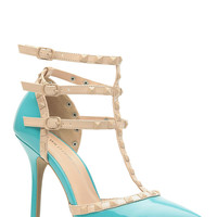 Aqua Faux Patent Leather Studded Pointed Toe Single Sole Heels