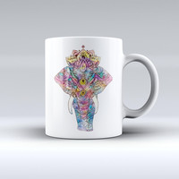 The Flourished Sacred Elephant ink-Fuzed Ceramic Coffee Mug