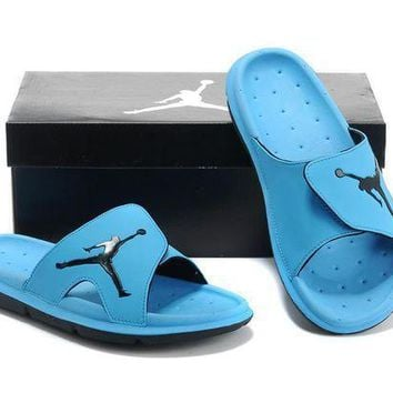 PEAPGE2 Beauty Ticks Nike Air Jordan Blue Casual Sandals Slipper Shoes Size Us 7-13