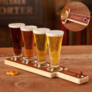 Beer Flight Paddle and Glasses