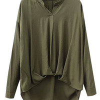 Long Sleeve V-neck Chiffon Wrap Blouse