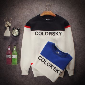 The new letter hit color couple Slim neckline sweater men and women Class service tide