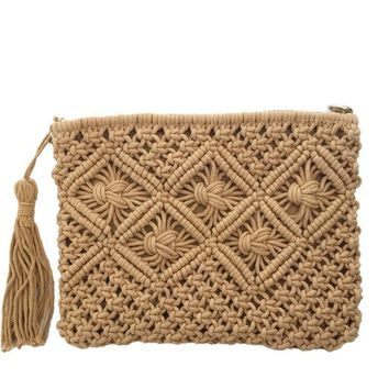 Bohemian Woven Tassel Hollow Out Beach Bag Women Crochet Fringed Straw Clutch Handmade Day Clutches Knitting Weave Boho Summer