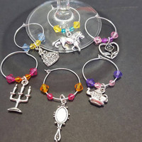 Themed wine glass charms