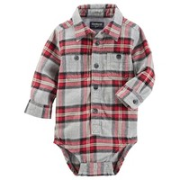 Baby Boy OshKosh B'gosh® Red & Gray Plaid Flannel Bodysuit | null