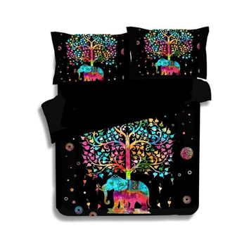 Indian Multi Color Elephant Bedding Set 3D Bohemian Mandala Duvet Cover Set Boho Bed Linen 2/3pcs Uk US CN Queen King Size Kids