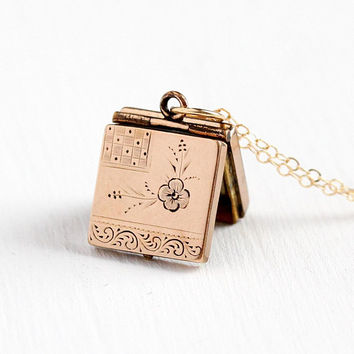 Antique Victorian Locket - Vintage Necklace Late 1800s 12k Rosy Yellow Gold Filled Fob - Etched Flower Square Floral Photo Pendant Jewelry