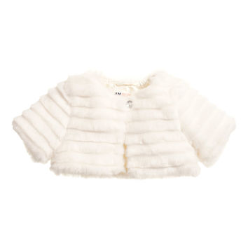 H&M - Faux Fur Bolero Jacket - White - Kids