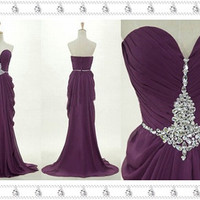 Grape Mermaid Prom Dress, Sexy Mermaid Dress, Sweetheart Beaded Evening/Prom Gown, 2014 Prom Dress, Cheap Prom Dress Evening, Prom Dress