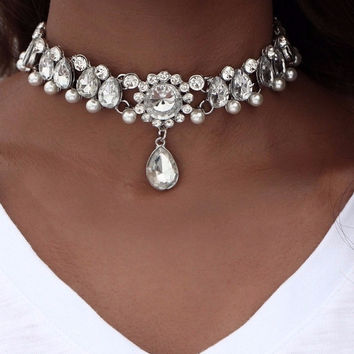 Water Drop Crystal Beaded Choker Necklace