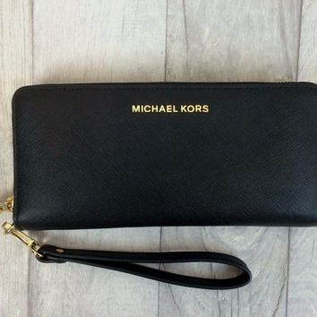 One-nice™ MICHAEL KORS Jet Set Travel Leather Continental Black Wristlet Purse Wallet
