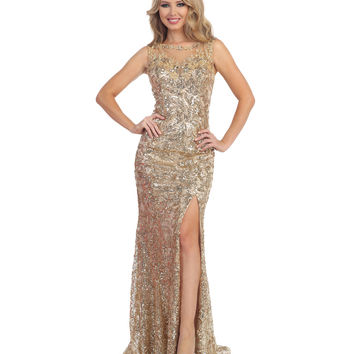 Champagne Sequin Open Back Sheer Slit Dress 2015 Prom Dresses
