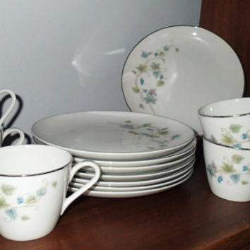 Rose China Japan Belhaven grape vine pattern Lunch Plates, 3603 Service for 6 plus extra lunch plates.