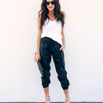 Biker Babe Pocketed Faux Leather Joggers