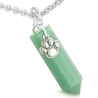 Amulet Lucky Wolf Paw Crystal Point Charm Green Aventurine Gemstone Good Luck an
