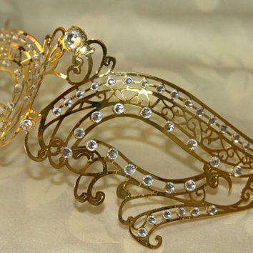 Gold Double Swan Masquerade Laser Cut Mask with Rhinestones