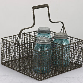 Metal Wire Basket , Vintage Wire Basket, Metal Storage Basket, Industrial Basket