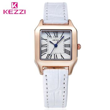 KEZZI Brand Popular Women Quartz Wristwatches Rectangle Dial Leather Strap Simple Lovers Couple Watch Relogio Feminino Gift