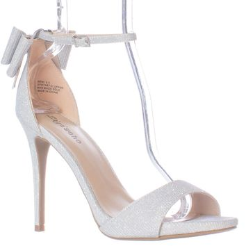 ZIGI Remi Ankle Strap Bow Heel Dress Sandals, Silver, 5.5 US