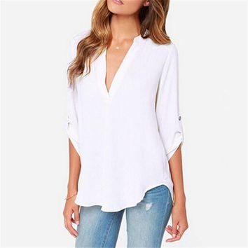 Women's V Neck, Long Sleeve, Casual Chiffon Blouse 7 colors