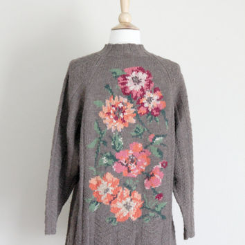 1980s Brown Floral Wool Sweater by Laura Ashley // Small