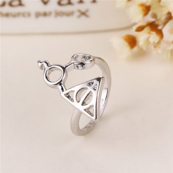 New Listing Swept Europe And America Fashion Harry Potter And The Deathly Hallows Glasses Triangular Ring