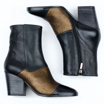 Kupuri 751 Black and Bronze Ankle Boot for Women - re-souL