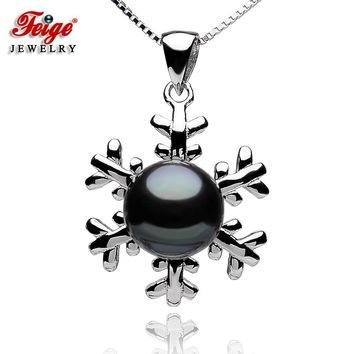 Snowflake Black Pearl Pendants Necklace for Ladies Freshwater Pearls Party Jewelry Gifts Real 925 Sterling Silver Chain FEIGE