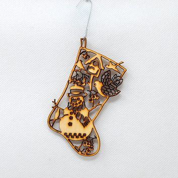 Snowman Stocking - Holiday Ornaments