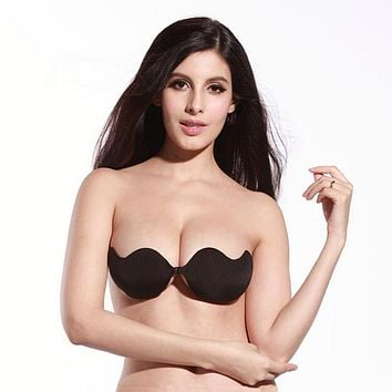 Women Front Closure Silicone Self-Adhesive Half Cup Wire Free Backless Strapless Seamless Push Up Bra For Female Intimates