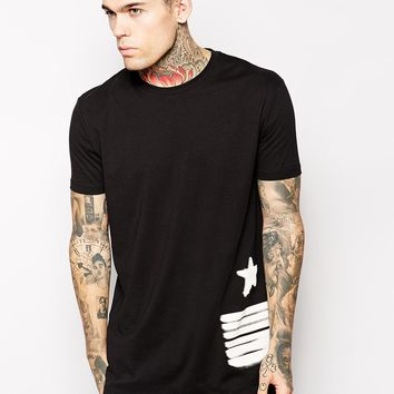 ASOS Longline T-Shirt With USA Flag Print And Skater Fit