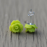 Neon Stud Earrings : Bright Lime Green Flower Stud Earrings, Sterling Silver Plated Earring Posts, Neon, Simple, Fun