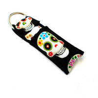 Sugar Skull Chapstick Keychain - Colorful Day of the Dead Lip Balm Holder Cozy