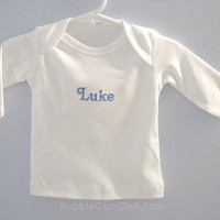 Personalized Tshirt Custom Embroidered Baby Name Nickname long sleeve