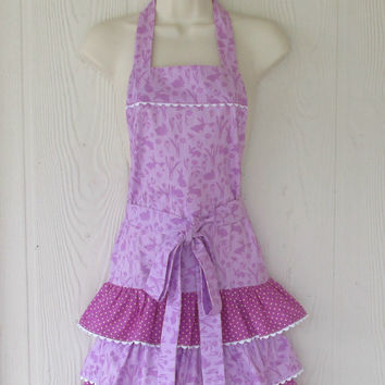 Easter Bunny Apron / Orchid Lavender / Cute Bunnies / Polka Dots / Ruffled Apron / Eclectasie