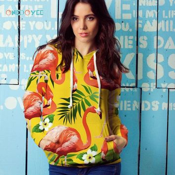 Onedoyee Women Hoodie Pink Flamingo Print Street Wear Hip Hop 3D Skateboard Hoodies Sweatshirts Yellow Long Sleeve Sports Top