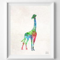 Giraffe Watercolor, Africa Print, Painting, Animal Poster, Nursery, Baby Room ,Illustration Art, Watercolour, Wall, Home Decor [NO 391]