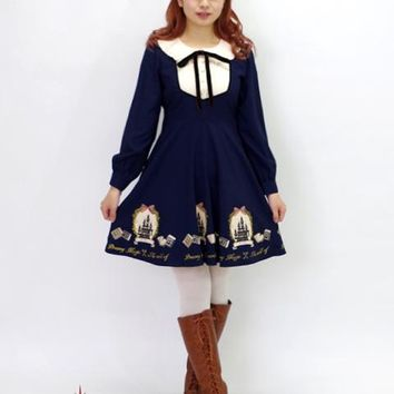 2018 new peter pan collar sweet princess dress women castle print long sleeve dress punk lolita princess japanese slim dresses