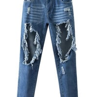Blue Ripped Light Wash Boyfriend Jeans