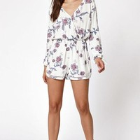 DCCKYB5 Kendall & Kylie Long Sleeve Surplice Romper