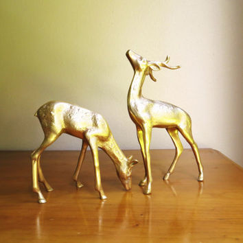 Vintage Brass Deer Figurines, Reindeer Statues, Doe, Buck, Deer Family, Woodland Brass Animal