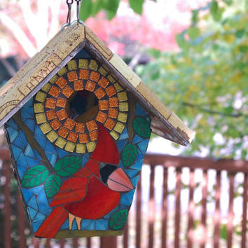 Birdhouse Stained Glass Mosaic Cardinal Red Bird