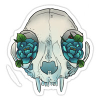 'Cat skull sees roses' Sticker by Wieskunde