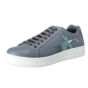 Prada Women's Gray Leather Fashion Sneakers Shoes